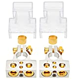 Car Battery Terminal Connectors Kit - Positive Negative Battery Post Connectors With Clamp and Shims for Auto Car Caravan Marine Boat Motorhome (0/4/8 or 10 Gauge)