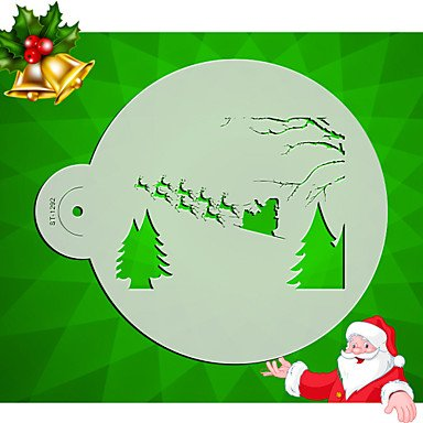 HJLHYL Christmas pattern Cake Top Stencil Cookie Stencil Template Wall Stencil Designs Stencil Tools for Fondant Mould ST-1292