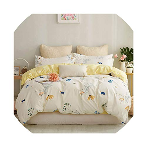 Simple Gentleman Duvet Cover Set Solid Color Bed Sheet Pillow Case Polyester Soft Duvet Cover Bedding Sets Parts,TianYuanYinXiang,Twin 3pcs,Flat Bed Sheet