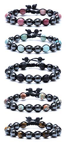 (Bivei Adjustable Braided Hematite Therapy Gemstone Bead Bracelet Semi-Precious Crystal Pain Relief Anxiety Bracelet(Pack of 5))