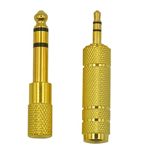 FineInno 3.5 mm Stereo Male to 6.35 mm (1/4 Inch) and 6.35mm to 3.5mm Gold Plated Stereo Female Audio Jack Converter Headphone Adapter for Mobile Phone, Computer, Guitar AMP(2PCS)