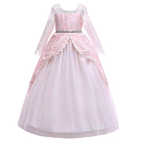 Girls Long Sleeve Tulle Lace Royal Retro Medieval Renaissance Dress Kid Princess Pageant Embroidery Flower Long Maxi Gown Gothic Victorian Masquerade Dress for Wedding Birthday Pink -