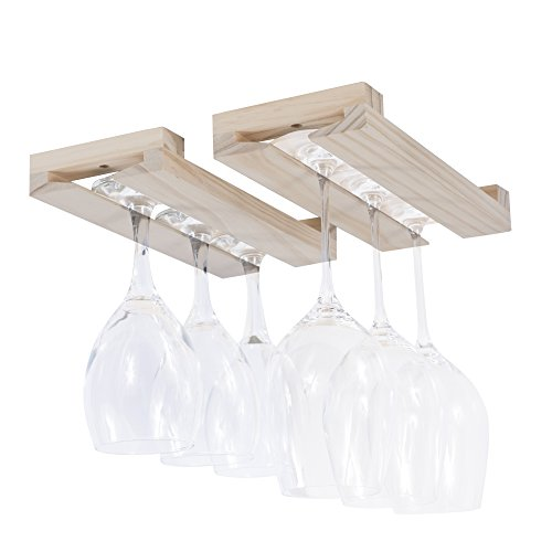 Rustic State Farmhouse Charm Under Cabinet Wine Glass Rack Unfinished Wood Natural 12 Inch Set of 2
