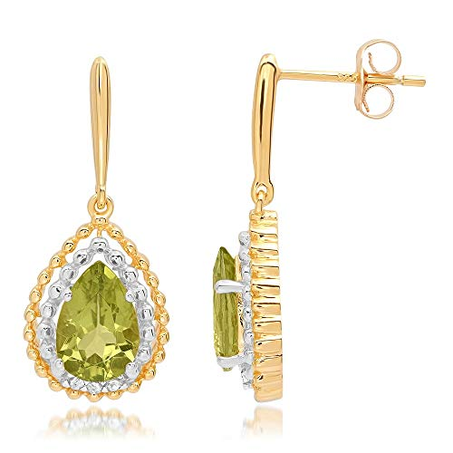 14K Yellow Gold Finish 1.20Ctw Pear Cut Peridot CZ Twotone Stud Earring ()