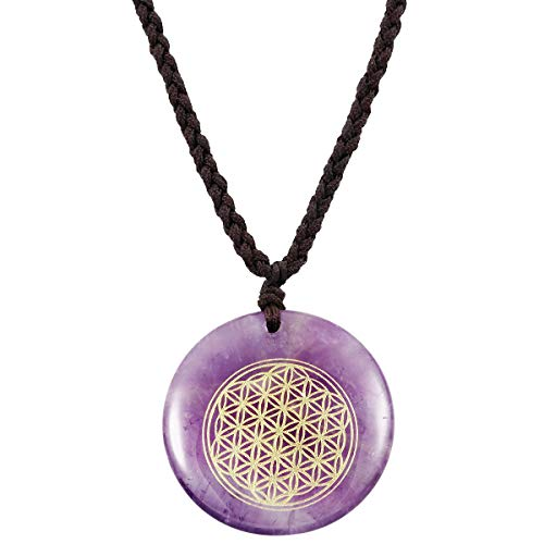 SUNYIK Flower of Life Engraved Round Amulet Pendant Necklace, Adjustable Wave Necklaces for Unisex, Amethyst