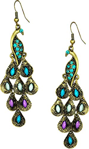Vintage Peacock Blue Epoxy Crystal Feather Dangle Statement Earrings, Gold Tone -