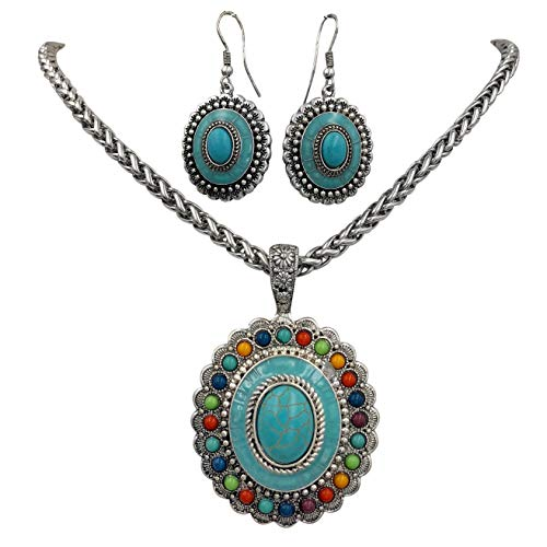 Gypsy Jewels Multi Color Simple Pendant Silver Tone Imitation Turquoise Boutique Style Statement Necklace & Dangle Earring Set (Oval ()