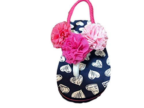 Girls Beach Sandal Toddler Little Flip Flip Flop Pom Pom Pink (9-10) ()