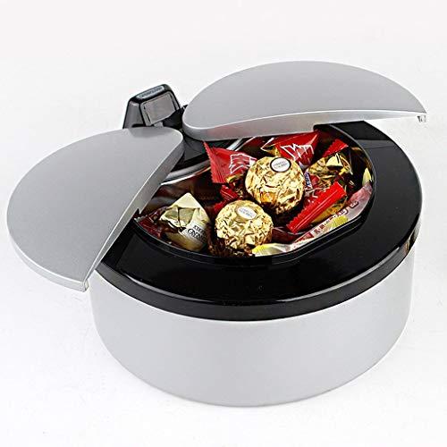 Yuany Cenicero, Cenicero Inteligente con Sensor Inicio Mesa Mini Cesta Reciclar Plato de Dulces (Color: Negro Plateado)