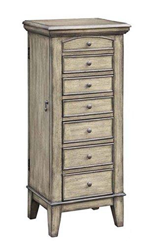 Meredith Textured Wood Tone 6 Drawer / 2 Door / Lift Top Jewelry Armoire