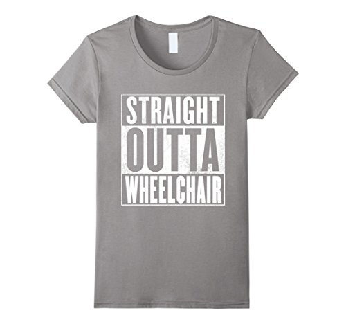 Womens Funny Wheelchair T-Shirt - STRAIGHT OUTTA WHEELCHAIR Shirt Large - Large Straight Wheels