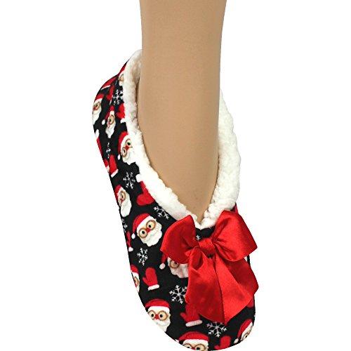 SHERPA Noël super Minuit doublure 4 rayé santa 7 doux polaire UK Noël Père Pantoufles Femmes HEvqq