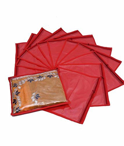 Kuber Industries™ Single Saree Cover 12 pcs Set (Red)