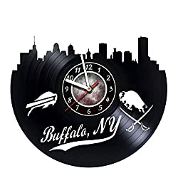 Buffalo Bills New York Skyline - Wall Clock Made of Vinyl Record - Handmade Original Design - Great gifts idea for birthday, wedding, anniversary, women, men, friends, girlfriend boyfriend and teens