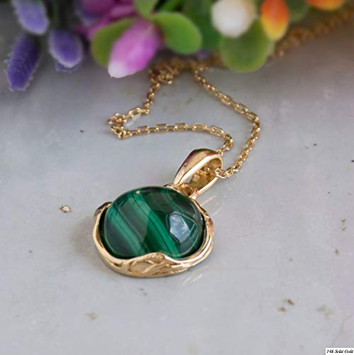 Malachite Necklace - 14K Gold Plated over 925 Sterling Silver, Dainty 12mm Natural Stone, Genuine Dark Green Malachite Gemstone Pendant, Delicate Handmade Vintage Antique Jewel for Women