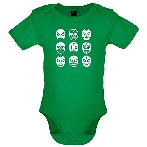 Rey Mysterio Suit (Lucha Masks - Babygrow / Bodysuit - Kelly Green - 0-3 Months)