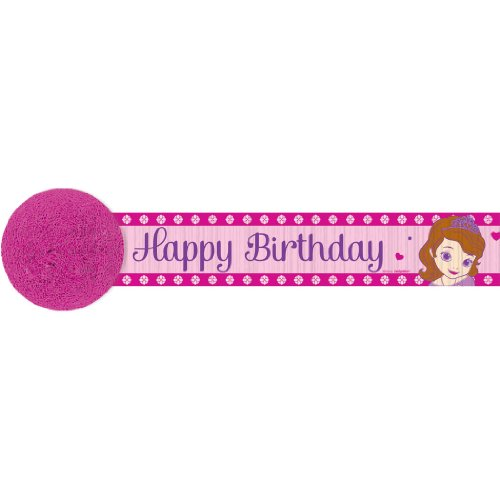(Disney Sofia The First Princess Birthday Streamer Party Decoration (1 Piece), Pink/Purple, 30Feet.)
