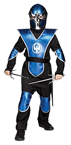 (Fun World Big Boy'S Chrome Raven Ninja Childrens Costume, Blue, Small)