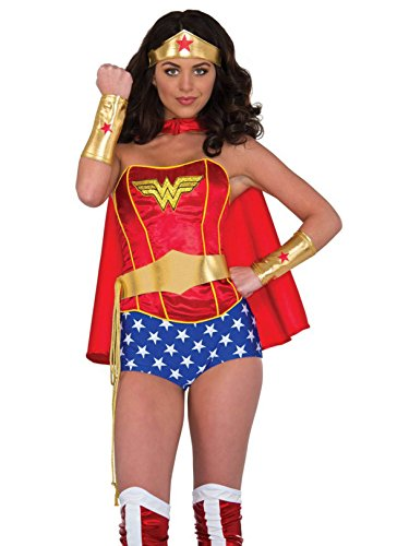 Rubie's Women's DC Comics Wonder Woman Accessory Kit Tiara Belt with Lasso Gauntlets, Multi, One -