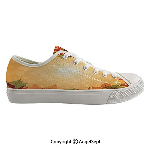 Durable Anti-Slip Sole Washable Canvas Shoes 15.74inch Striped Dotted Background and Vibrant Maple Aspen Oak Leaves Seasonal Nature Decorative,Red Green Orange Flexible and Soft Nice Gift