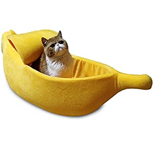 · Petgrow · Banana Cat Bed Cave Extra Large Size, Pet Bed Sofa Soft Cat Cuddle Bed House, Lovely Pet Supplies for Rabbits Small Dogs Cats Kittens Bed, Yellow 81