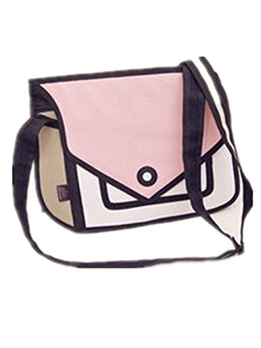 Genius_Baby 3D Style 2D Drawing Cartoon Handbag Shoulder Canvas Messenger Bag (light pink)