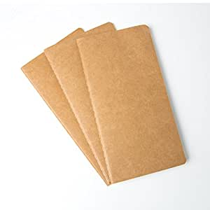THRICH travellers notebook refill inserts, 8.26 x 4.33 inches, fountain pen friendly, 2 blank and 1 lined, pack of three, 180 pages