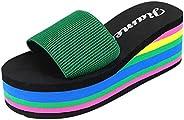 Women Summer Flip Flops Sandals,2DXuixsh Platform Rainbow Fashion Non-Slip Sandals Female Beach Slippers 3~5cm