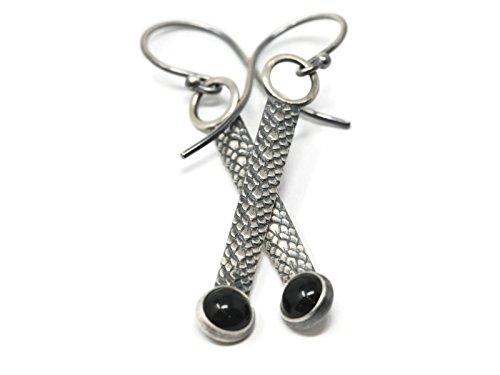 Onyx Snake (Black Onyx Snake Skin Pattern Drop Earrings in Antique