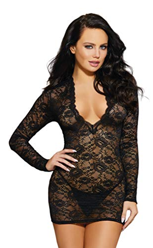 Dreamgirl Women's Plunge-Front Lace Chemise, Black ()