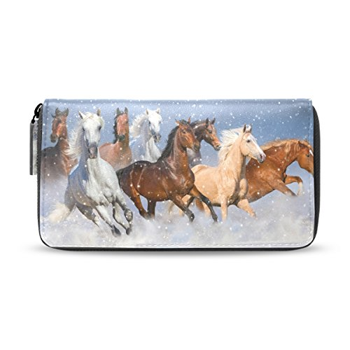 Handbag Animal Long Wallet pu Leather ALAZA Horse Blue2 Clutch Different Purse Leather YHET8q