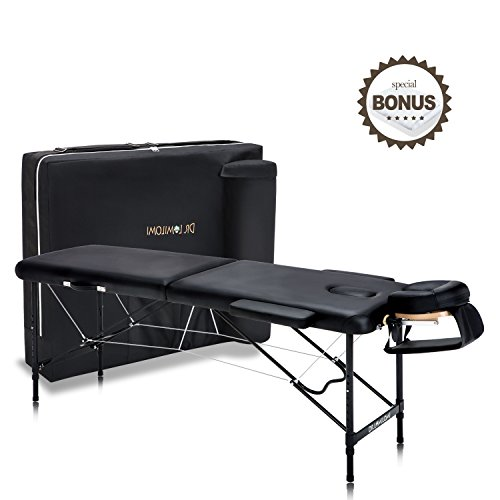 Dr.lomilomi Ultra-lite Aluminum Portable Massage Table 302 Spa Bed with Carry Case and Cover Sheet Set (Black)