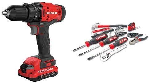 CRAFTSMAN V20 Cordless Drill Driver Kit with Mechanics Tools Kit Socket Set, 57-Piece CMCD700C1 CMMT99446