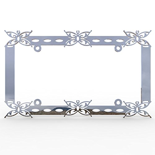 Ferreus Industries Polished Stainless Chrome Car Truck License Plate Frame Butterfly Butterflies Butterfly 1 Piece LIC-104