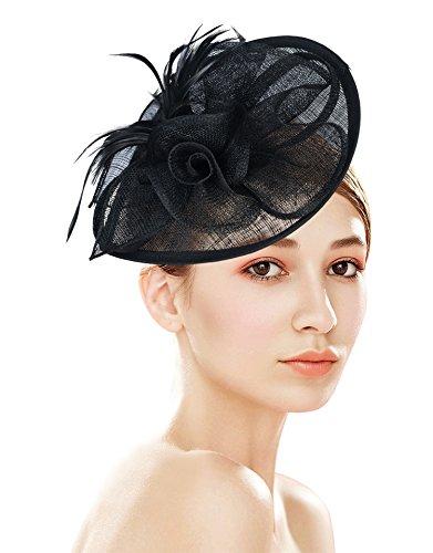 [Z&X Sinamay Fascinator Pillbox Hat Headband Hair Clip for Cocktail Tea Party Black] (Hats & Fascinators Online)