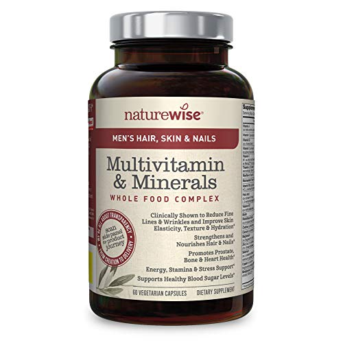 NatureWise Hair Skin and Nails Vitamins for Men — Whole Food Multivitamin for Men with AstaReal Astaxanthin, Biotin, Collagen, Keratin, Silica, Antioxidants for Youthful Skin & Healthy Hair | 60 Ct