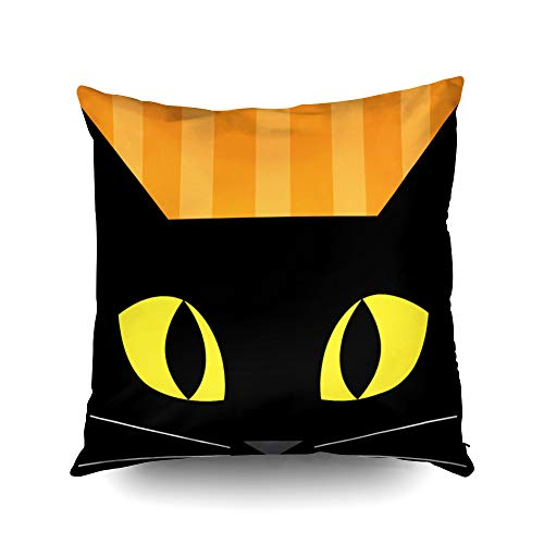 Capsceoll Halloween Black cat Decorative Throw Pillow Case 16X16Inch,Home Decoration Pillowcase Zippered Pillow Covers Cushion Cover with Words for Book Lover Worm Sofa Couch