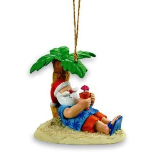 Cape Shore Santa Relaxing Under a Palm Tree Beach Break Holiday Ornament ()