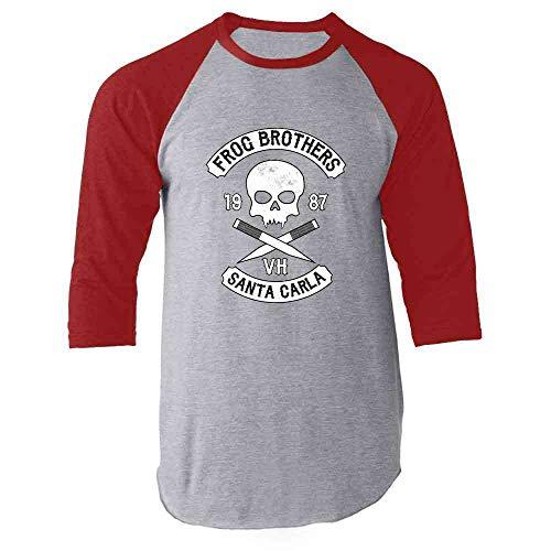 Frog Brothers Santa Carla Halloween Costume Horror Red L Raglan Baseball Tee Shirt -