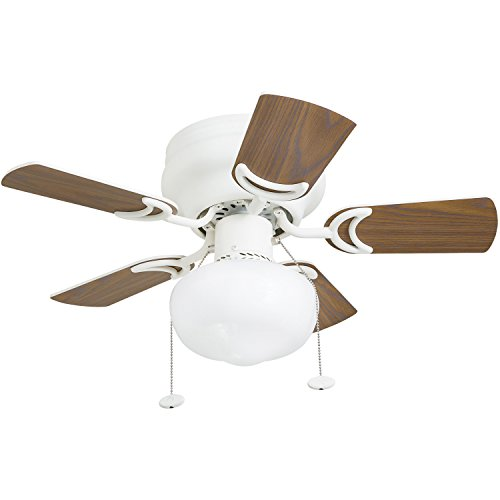 Prominence Home 41530-01 Hero 28'' Hugger Small Ceiling Fan, LED Schoolhouse Globe, Glossy White by Prominence Home (Image #6)