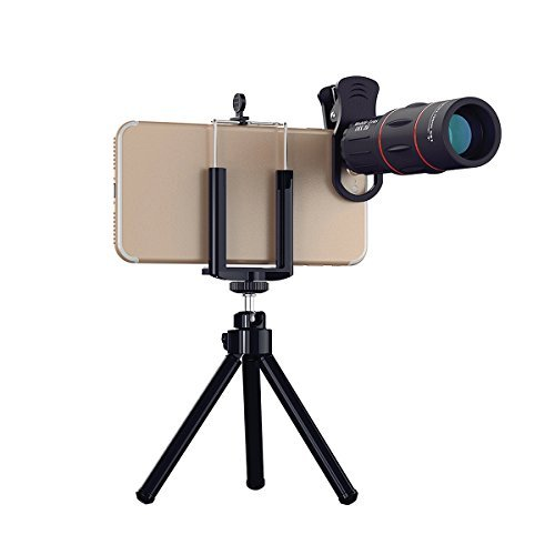 Abedoe 18x25 Monocular Telescope, 1000m Zoom Phone Camera Lens High Power Prism with Tripod Clip for Game Concerts Bird Watching Hunting Camping Travelling Wildlife Secenery,Universal for All Phones (Telephone Power Clip)