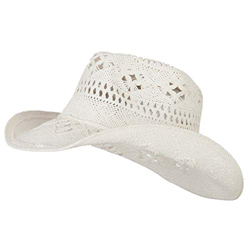 Q Headwear Solid Color Straw Cowboy Hat - White OSFM ()