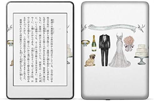 igsticker kindle paperwhite 第4世代 専用スキンシール キンドル ペーパーホワイト タブレット 電子書籍 裏表2枚セット カバー 保護 フィルム ステッカー 015560 結婚 結婚式 ドレス タキシード