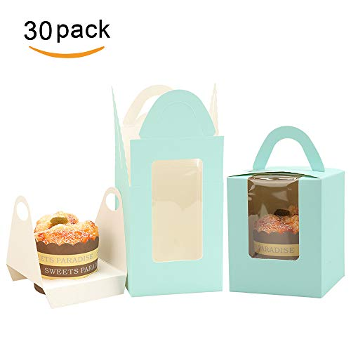 DIY Cupcake Boxes with Window Handle Inserts Bakery Boxes Muffins Carriers Containers Cupcake Holders Party Favor Gift Box for Baby Shower Wedding Birthday Parties Pack of 30 (Blue) ()
