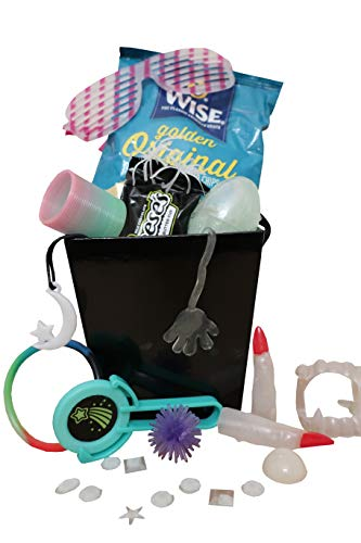 Cool Glow-in-the-Dark Kids Gift Basket! Package Includes Assortment of Snacks, Dress-up Items, Toys and Activities! - 15 piece - Set Designed for Boys and Girls ages 3-12