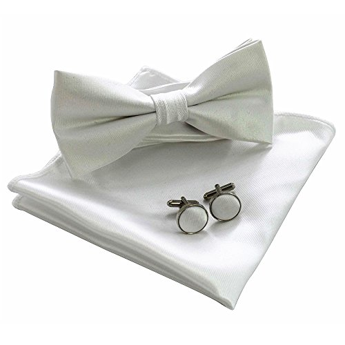 JEMYGINS Mens White Bow Tie Pre-tied Silk Bowtie and Pocket Square Cufflink Set (5) -