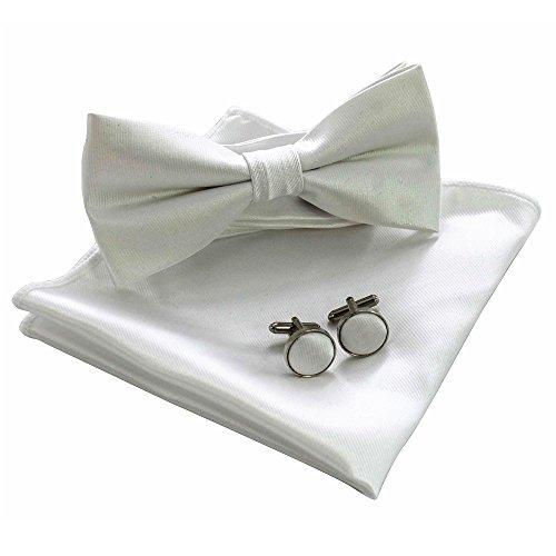 JEMYGINS Mens White Bow Tie Pre-tied Silk Bowtie and Pocket Square Cufflink Set (5) ()