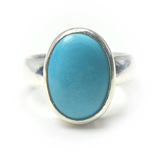 Made Genuine Turquoise Ring (Jewelryonclick 4.5 Carat Genuine Natural Turquoise Gemstone Sterling Silver Simple Ring For Men)