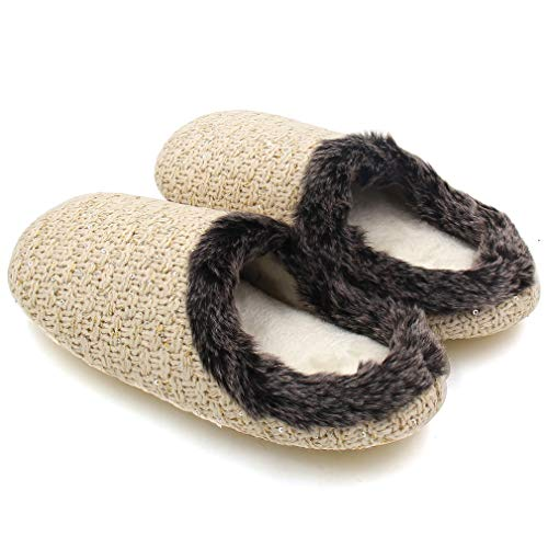 Women's Indoor Woolen with Beige Hand Knitted Fur ALOTUS Slippers Warm Soft OqdAnwS