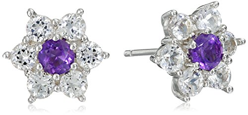 Sterling Silver Amethyst and Created White Sapphire Flower Stud Earrings (Amethyst Sapphire Stud)